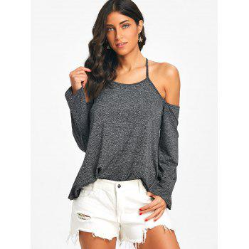 Cami Strap Heathered Cross Backless Top - GRAY M