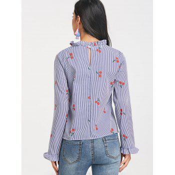Cherry Print Stripe Ruffle Collar Top - CLOUDY M