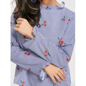 Cherry Print Stripe Ruffle Collar Top - CLOUDY L