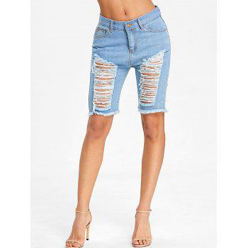 High Rise Destroyed Knee Length Denim Shorts - LIGHT BLUE S