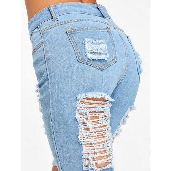 High Rise Destroyed Knee Length Denim Shorts - LIGHT BLUE XL