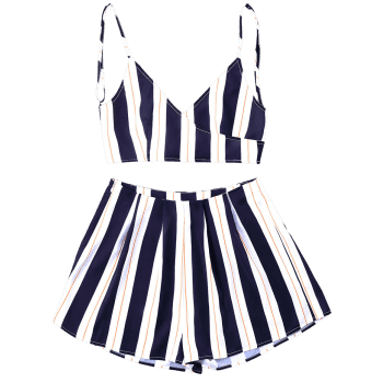 Striped Cami Top with Wide Leg Shorts - BLUE STRIPE XL