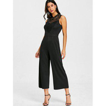 Lace Insert Sleeveless Culotte Jumpsuit - BLACK M