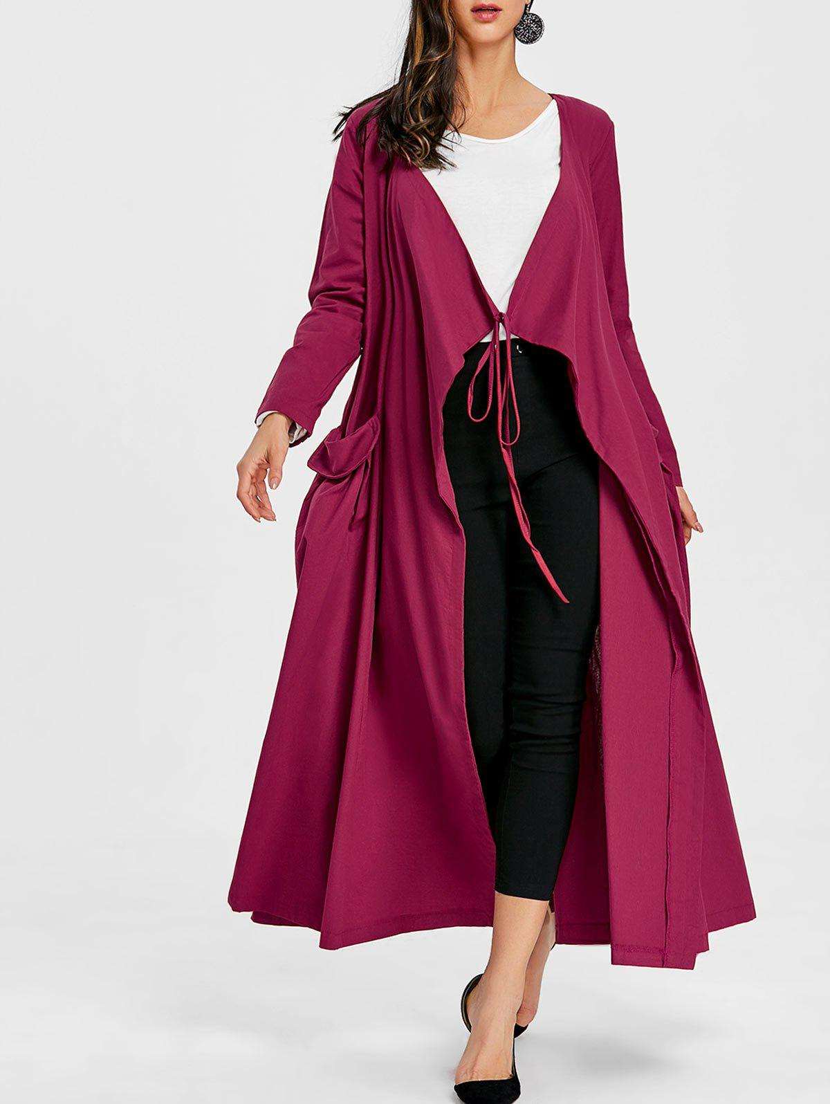 Side Pocket Maxi Drape Coat - WINE RED M