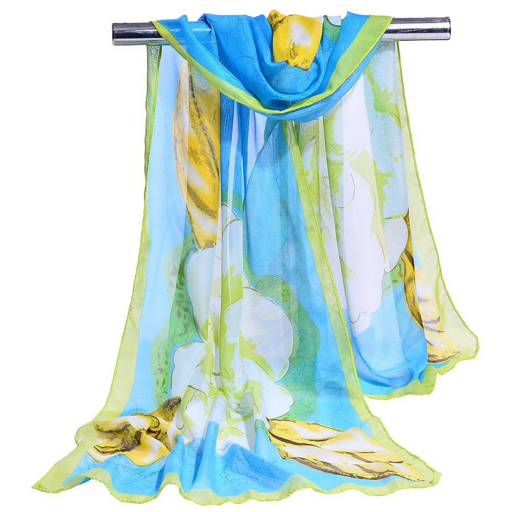 Flourishing Floral Pattern Silky Long Scarf - BLUE