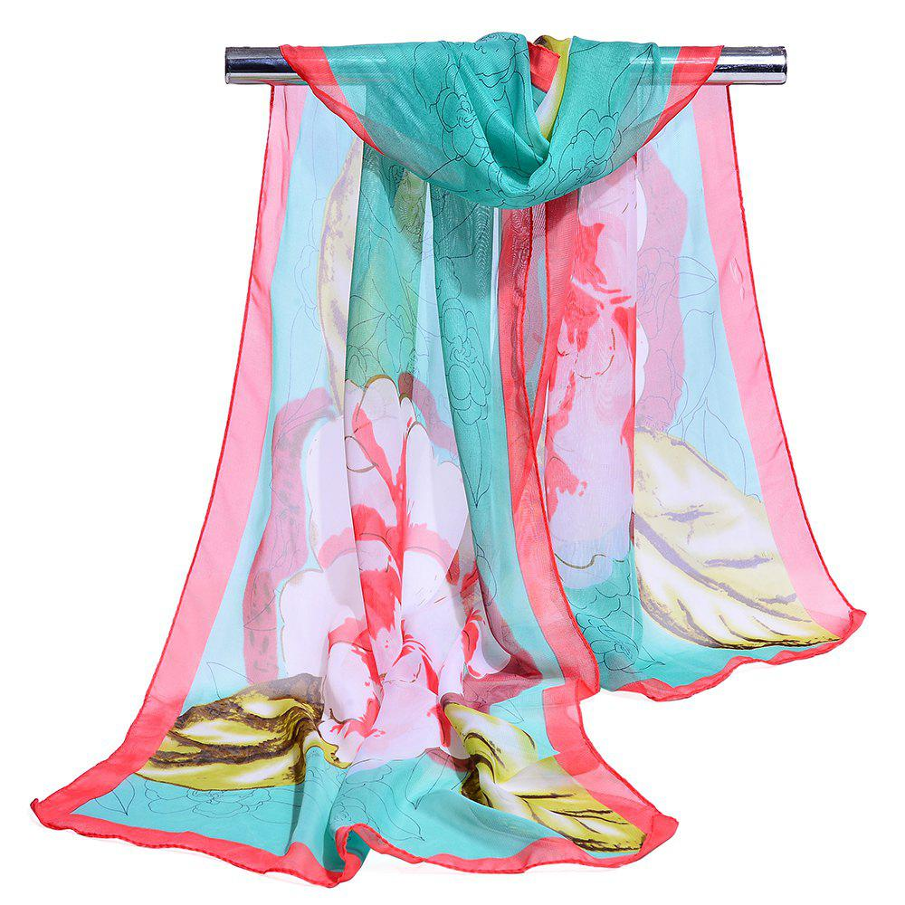 Flourishing Floral Pattern Silky Long Scarf - LAKE BLUE