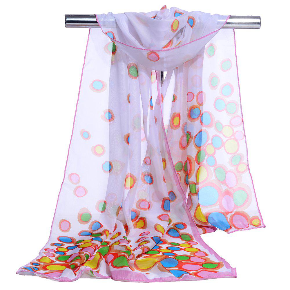 Color Dot Pattern Embellished Silky Scarf - WHITE