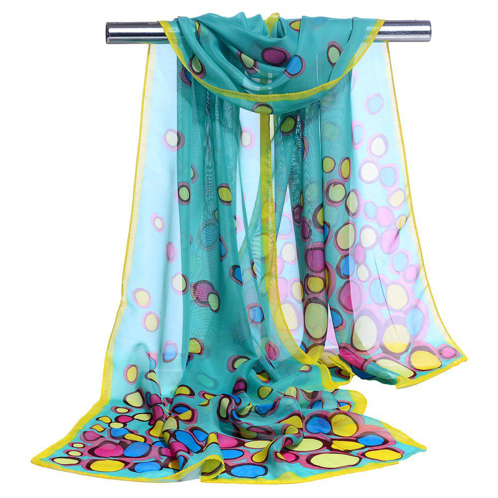 Color Dot Pattern Embellished Silky Scarf - OASIS