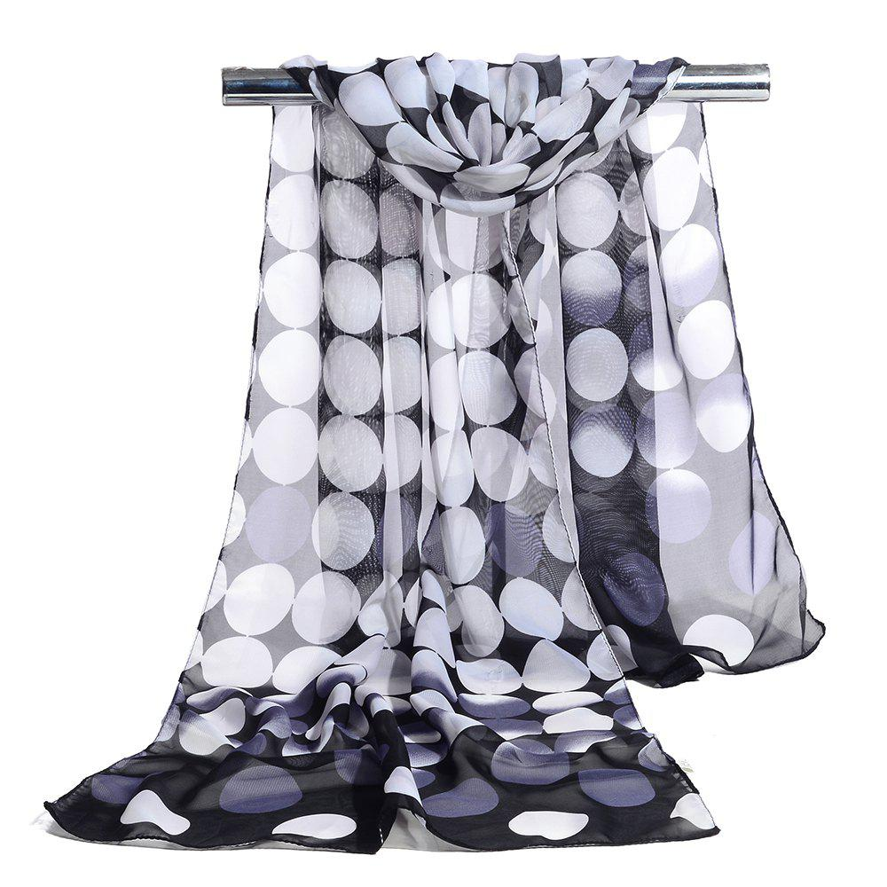 Simple Polka Dot Pattern Long Scarf - BLACK