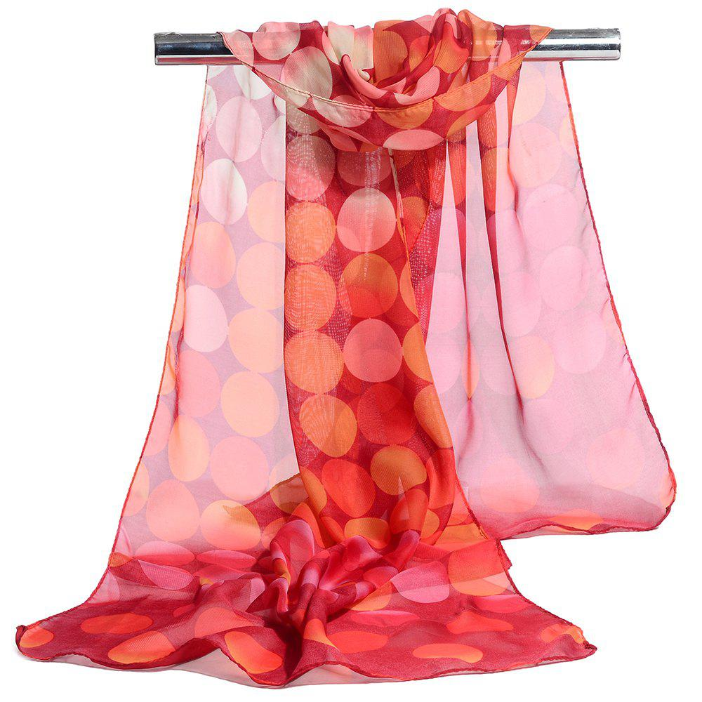Simple Polka Dot Pattern Long Scarf - RED