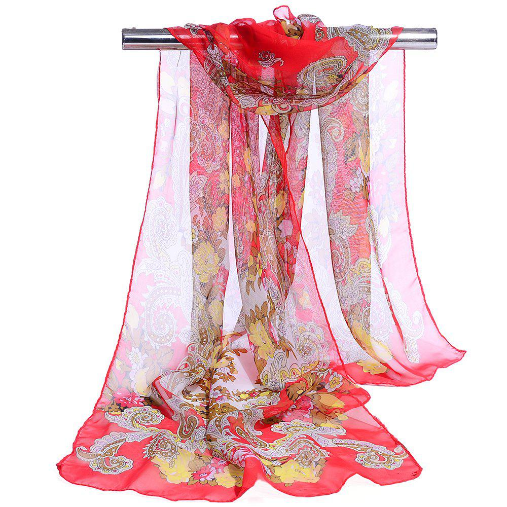 Unique Floral Pattern Lightweight Silky Scarf - RED