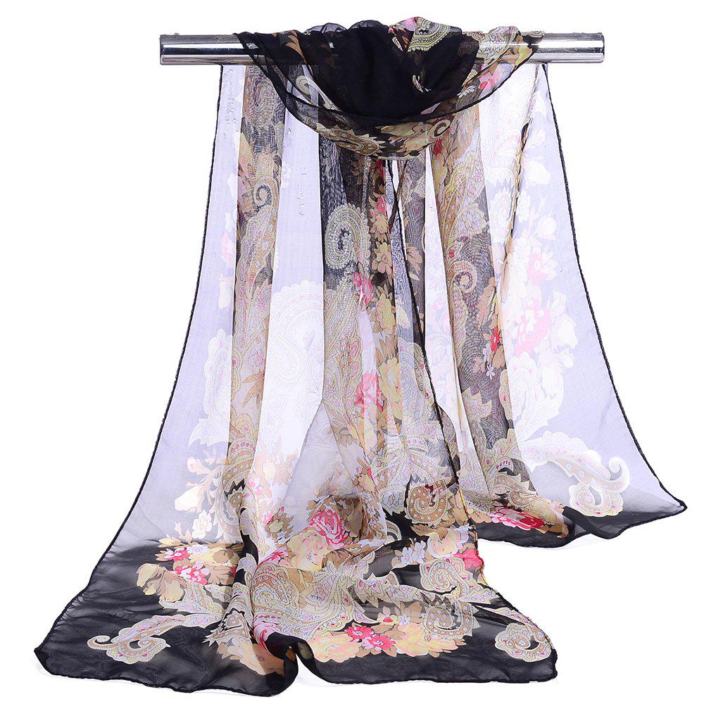 Unique Floral Pattern Lightweight Silky Scarf - BLACK