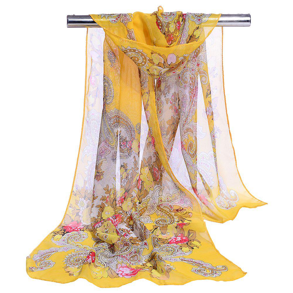 Unique Floral Pattern Lightweight Silky Scarf - YELLOW