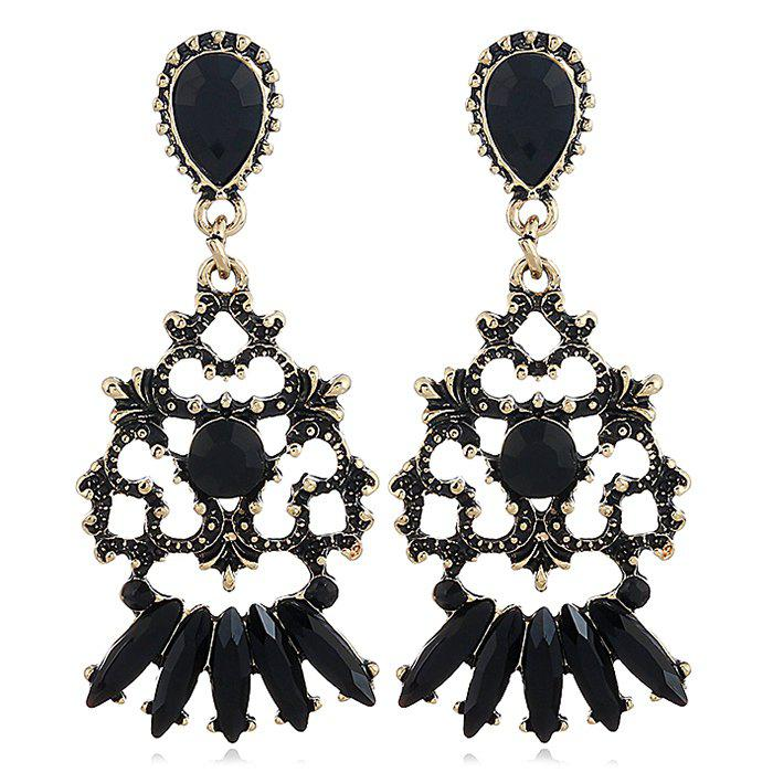 Fanshaped Carving Floral Hollow Out Drop Earrings - BLACK