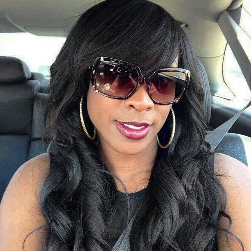 Long Side Bang Wavy Natural Hair Wig - BLACK