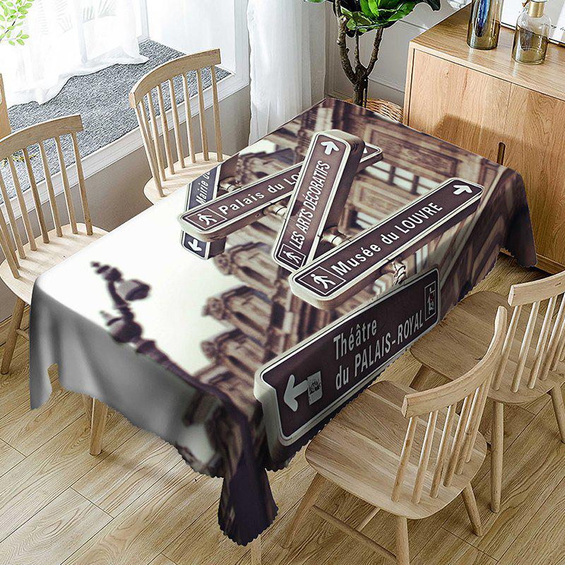 Building Signpost Pattern Indoor Outdoor Table Cloth - BROWN W60 INCH * L84 INCH