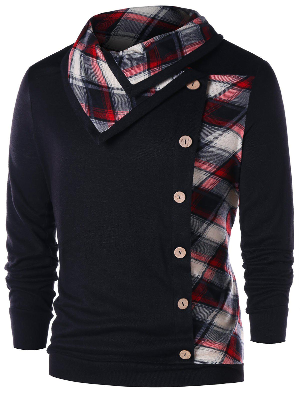 Plaid Button Embellished Heaps Collar Sweatshirt
