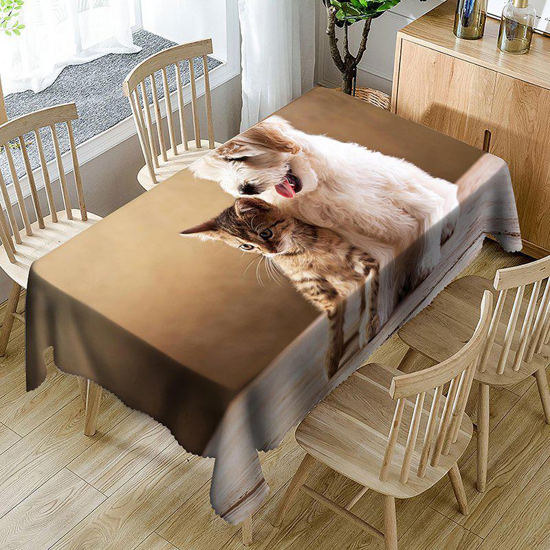 Cat and Dog Pattern Waterproof Table Cloth - BROWN W54 INCH * L72 INCH