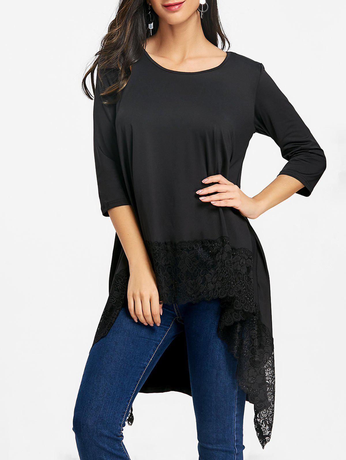High Low Lace Trimmed Tunic Blouse - BLACK 2XL