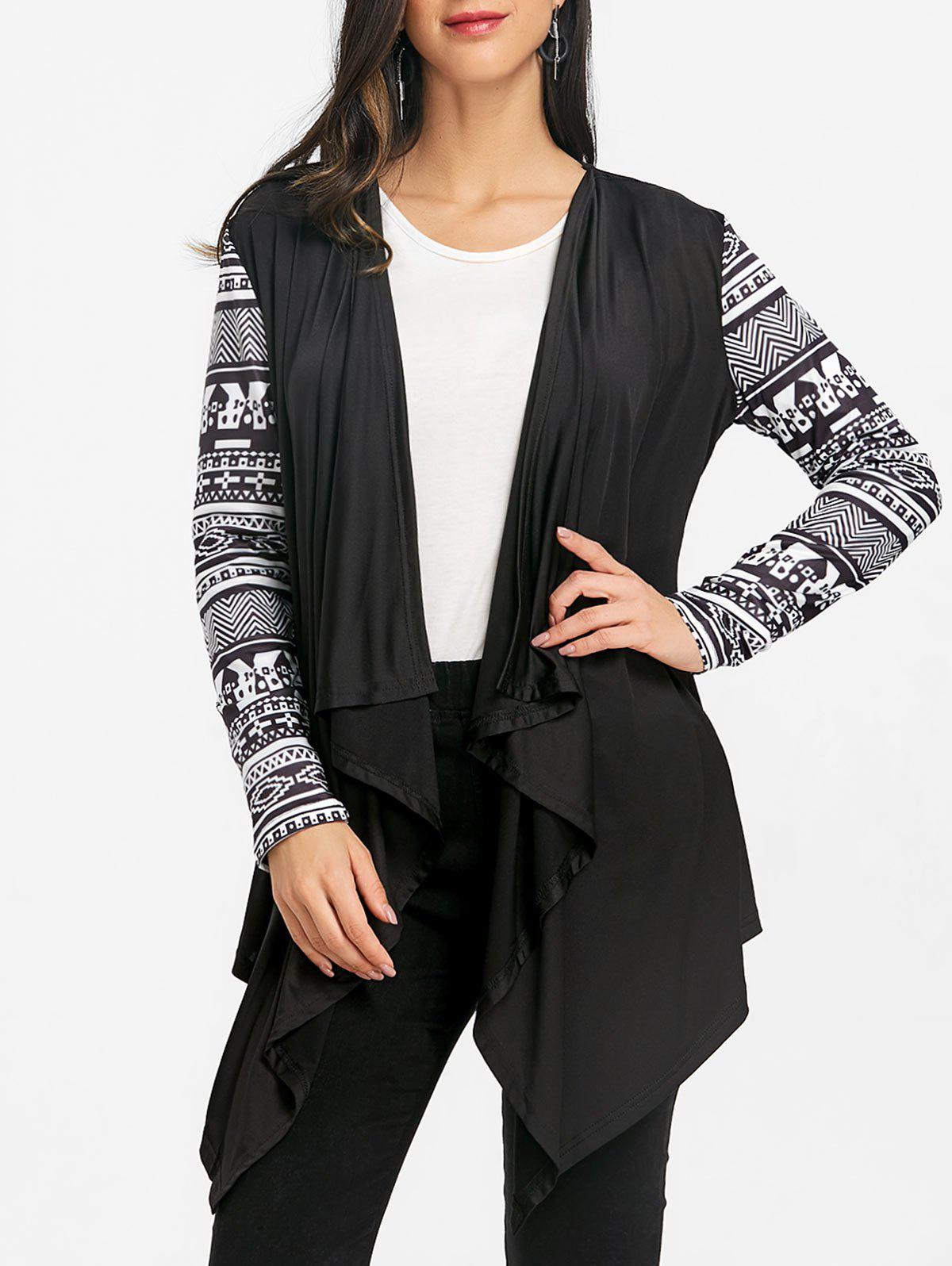Tribal Print Sleeve Draped Asymmetric Cardigan - BLACK M