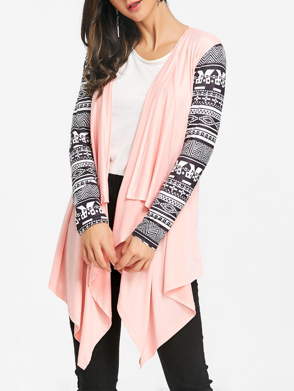 Tribal Print Sleeve Draped Asymmetric Cardigan - PINK XL