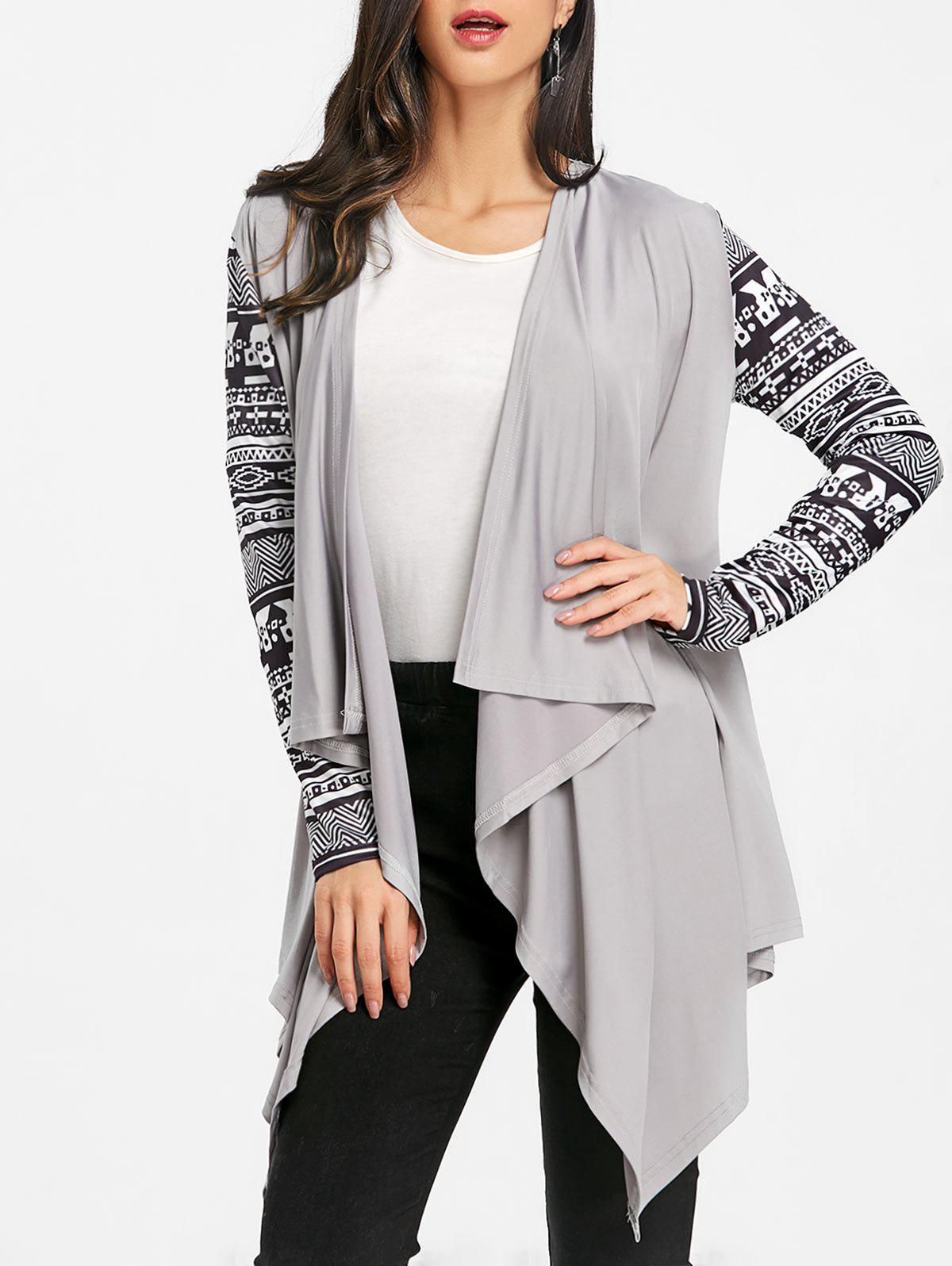 Tribal Print Sleeve Draped Asymmetric Cardigan - GRAY L