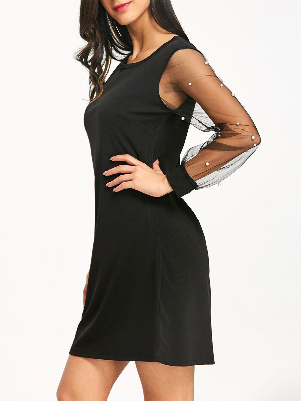 Mesh Sleeve Faux Pearl Casual Dress - BLACK XL