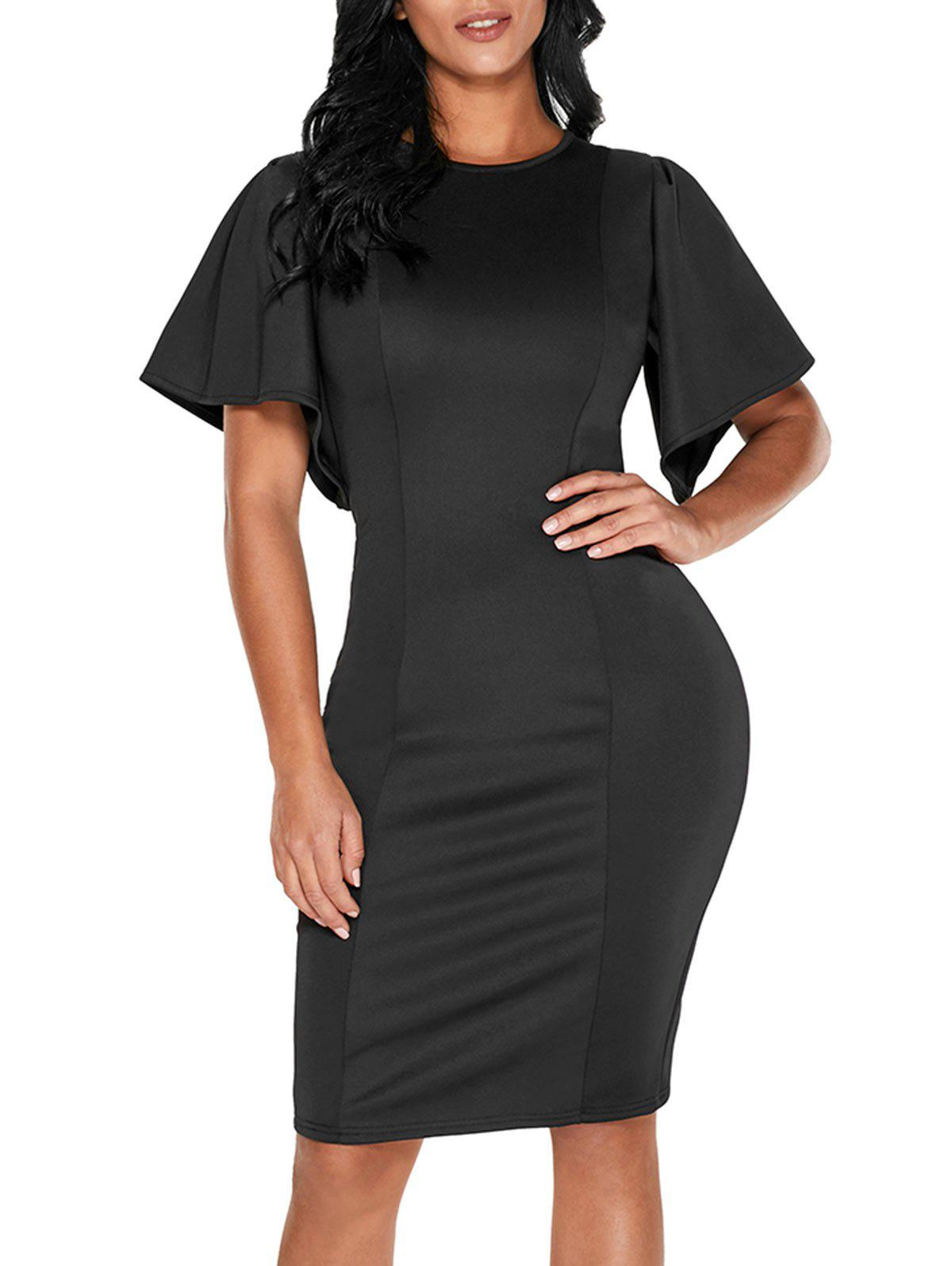 Back Slit Short Bell Sleeve Bodycon Dress - BLACK S