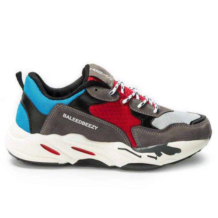 Color Block Mesh Panel Athletic Shoes - RED 43
