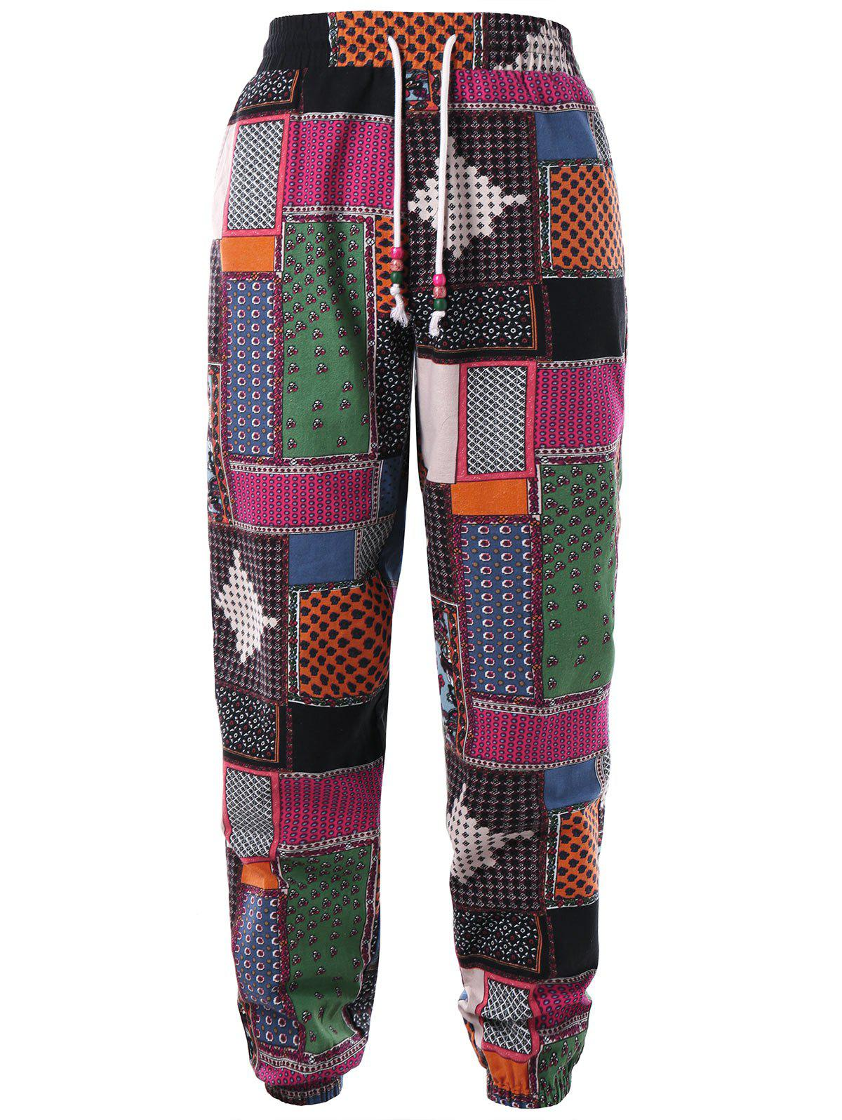 Tribal Print Drawstring Jogger Pants - COLORMIX XL