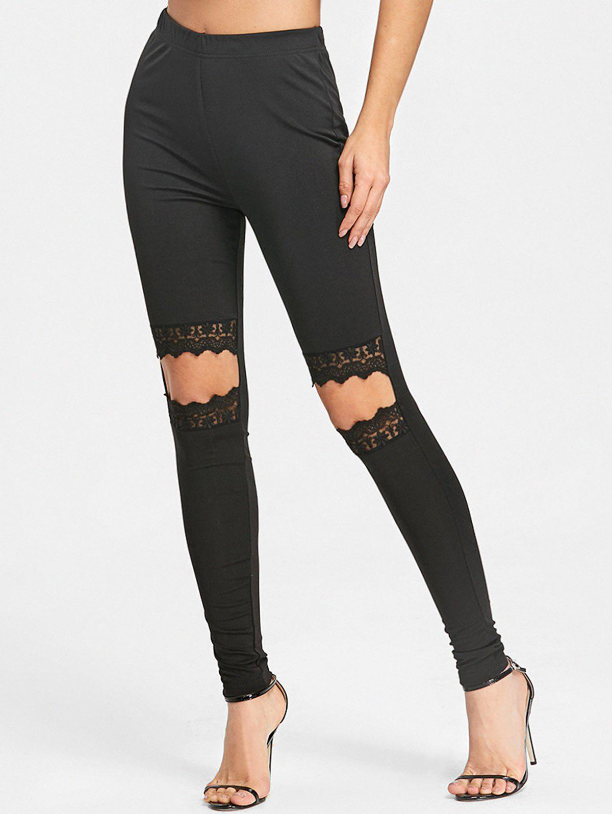 Lace Knee Cut Out Leggings - BLACK L