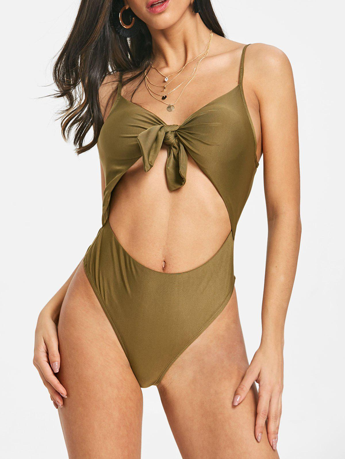 Knotted Backless Cami Bodysuit - ARMY GREEN S