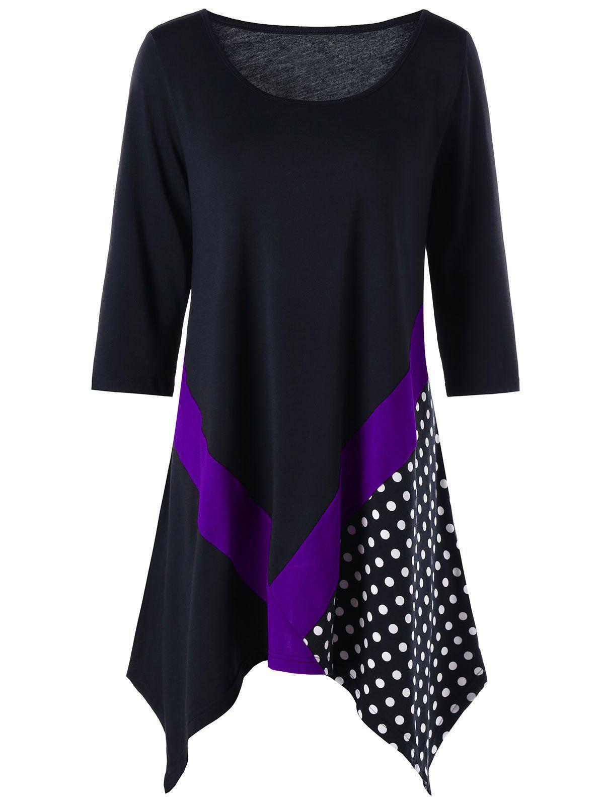 Plus Size Polka Dot Trim Tunic T-shirt - BLACK/PURPLE XL