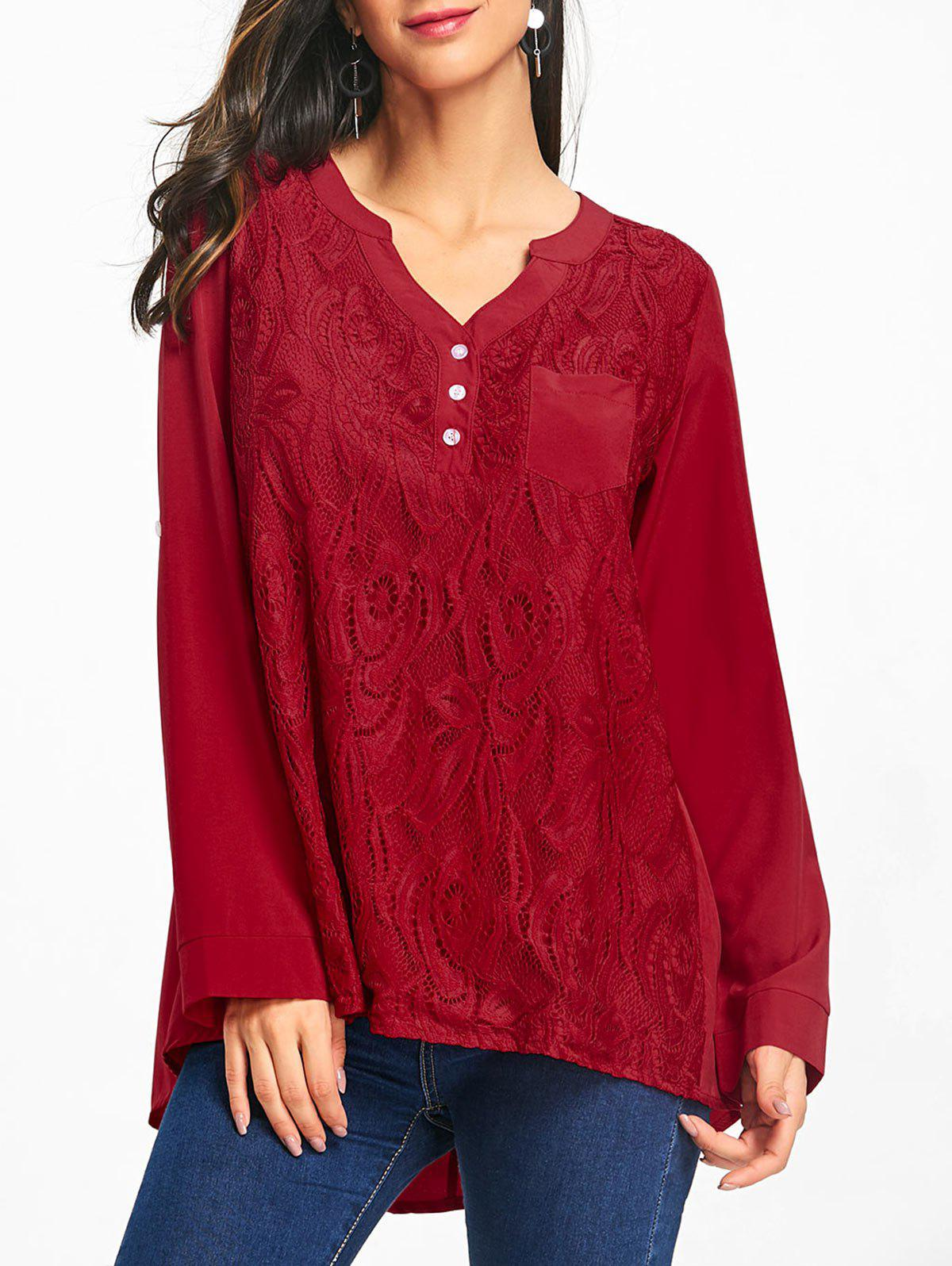 High Low Lace Insert Tunic Blouse - RED S