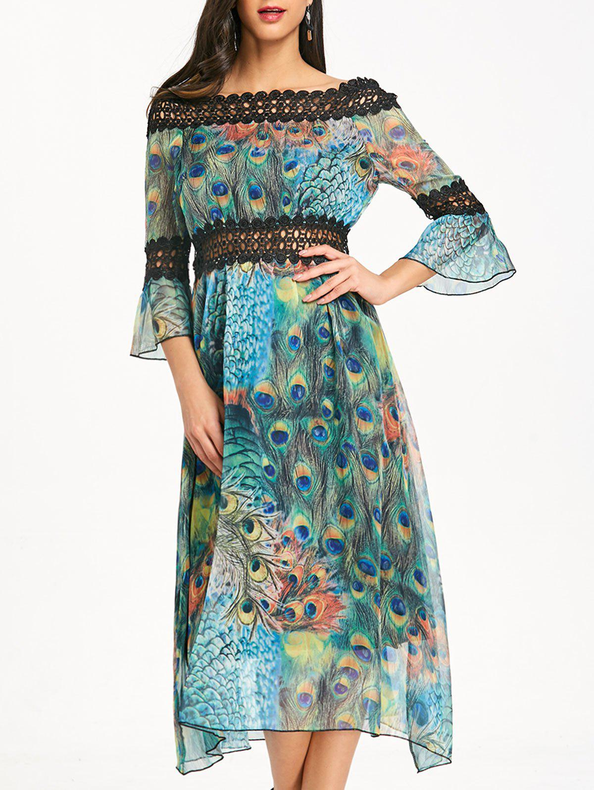 Peacock Feather Print Off Shoulder Chiffon Dress - LAKE BLUE L