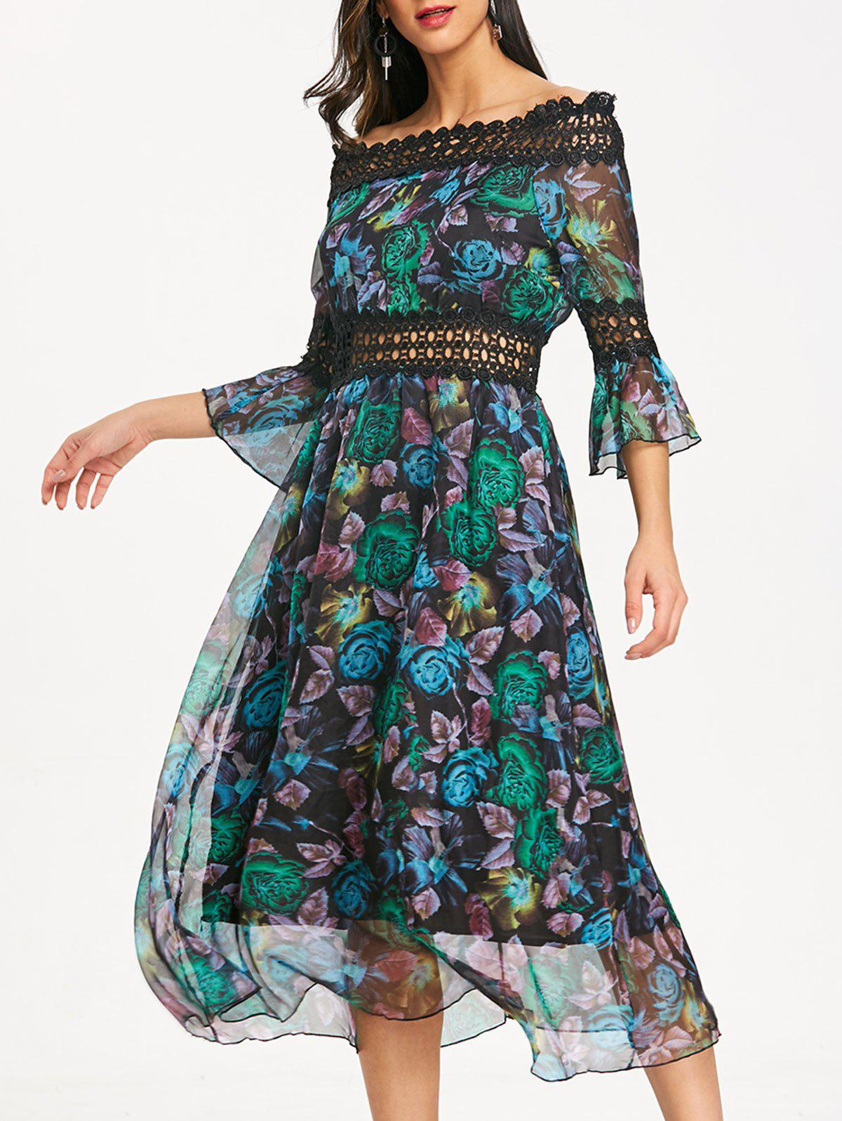 Peacock Feather Print Off Shoulder Chiffon Dress - GREEN L