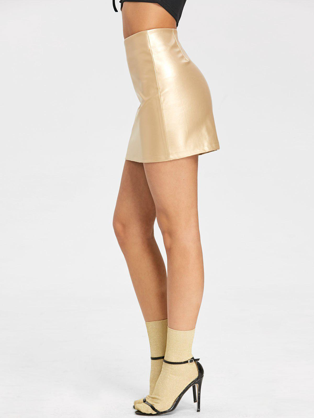 High Rise Sparkle Mini Skirt - GOLDEN XL