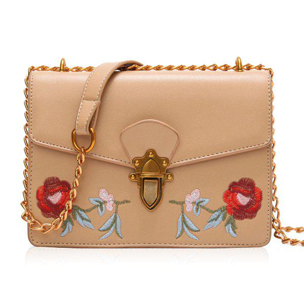 Floral Embroidery Flap Chain Crossbody Bag