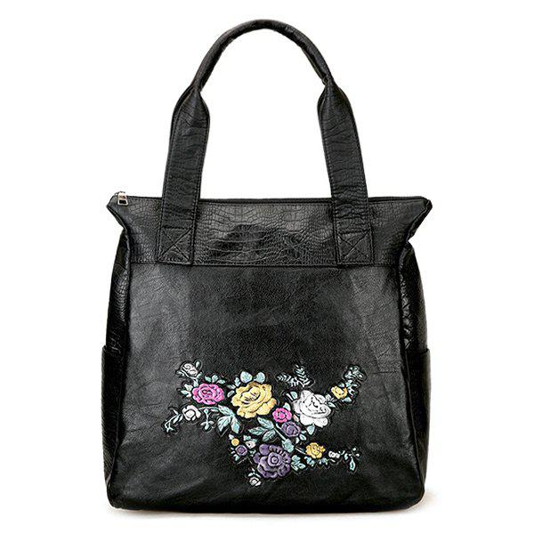 Faux Leather Floral Embroidered Shoulder Bag - BLACK