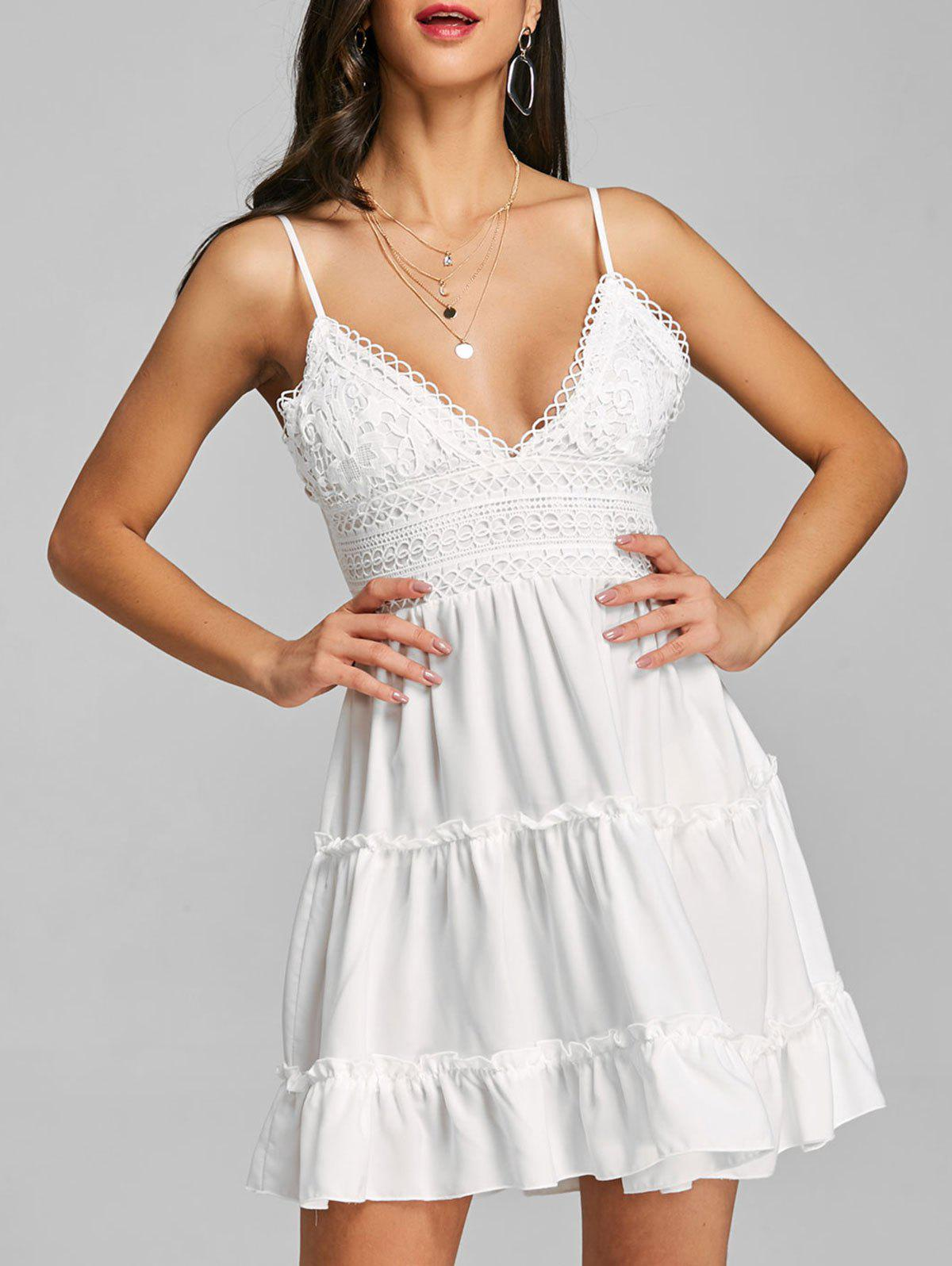 Lace Bow Spaghetti Strap Swing Dress - WHITE L