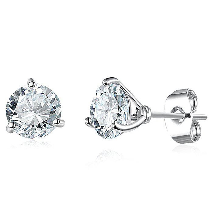 Simple Rhinestone Stud Earrings - SILVER