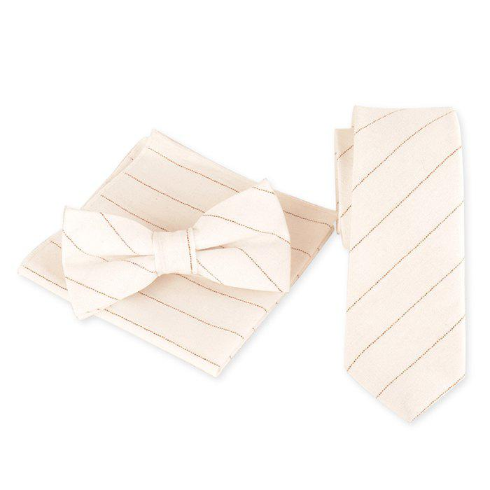 Striped Pattern Necktie Bowtie and Handkerchief - WHITE