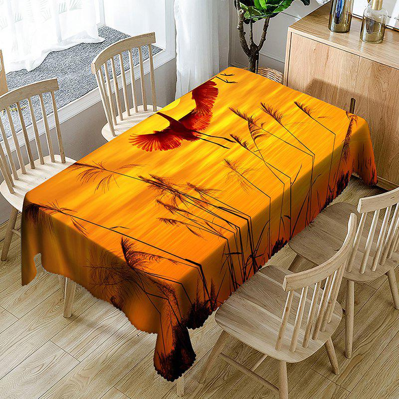 Cranes Reed Sunset Print Waterproof Table Cloth - YELLOW W60 INCH * L84 INCH