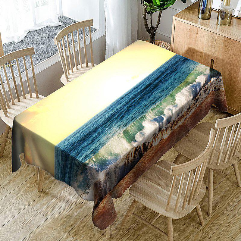 Waterproof Sunlight Ocean Wave Print Table Cloth - BLUE W54 INCH * L72 INCH