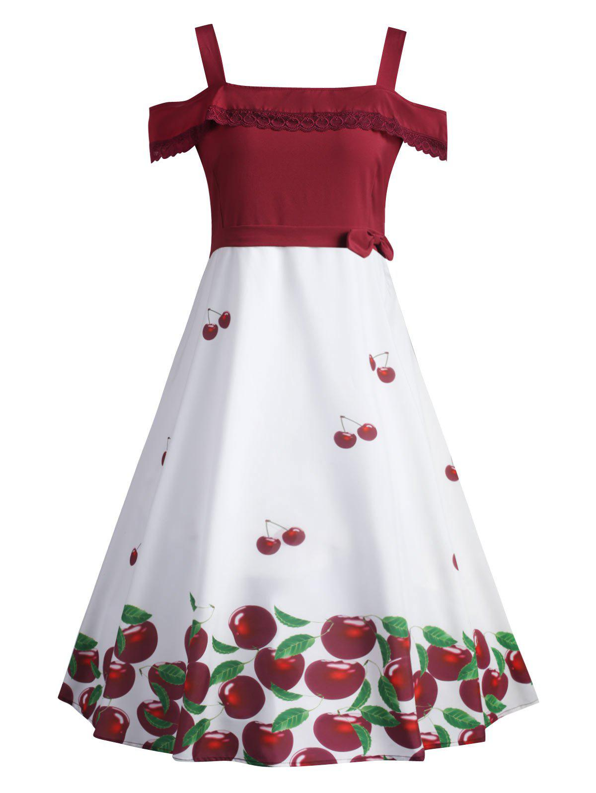Cherry Print Plus Size Flounce Pin Up Dress - WHITE XL