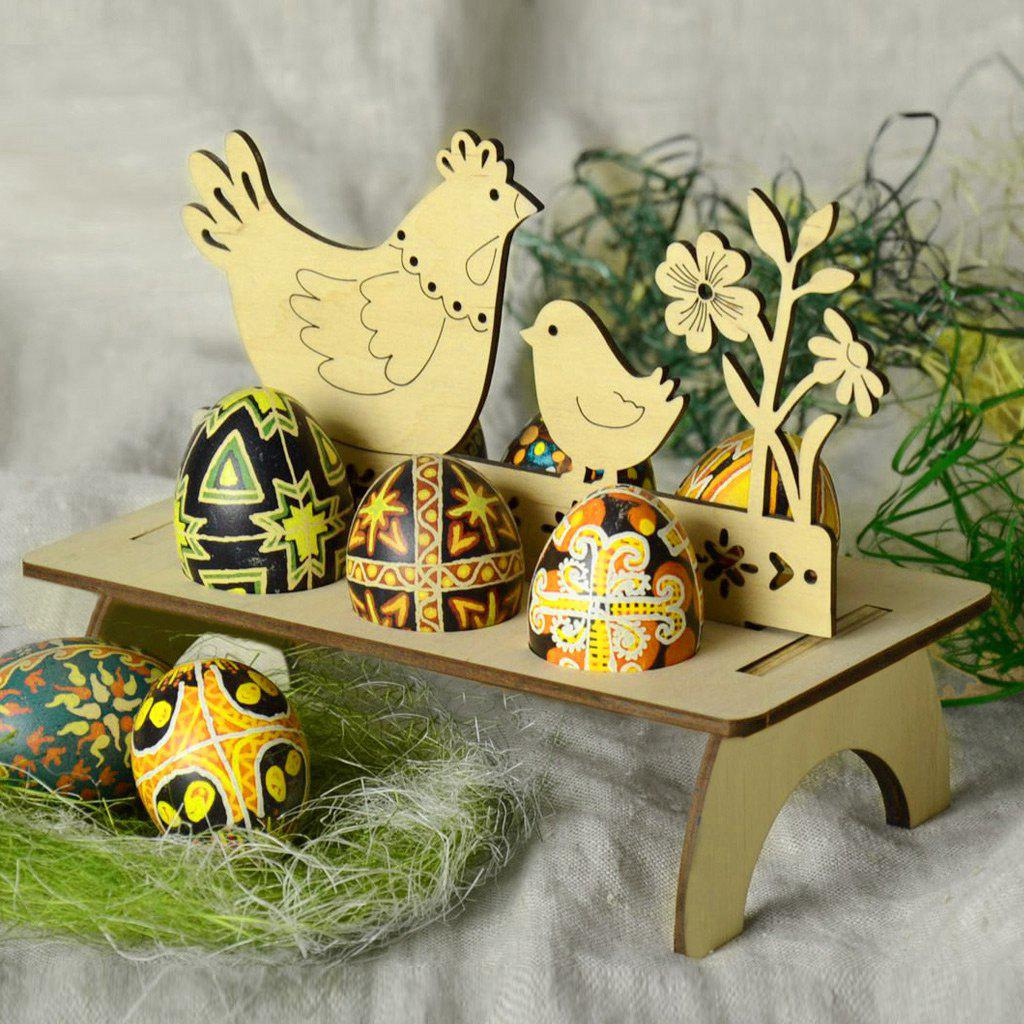 Chick Shape Home Decor Wooden Easter Egg Holder beistle company mens easter egg whirls assorted