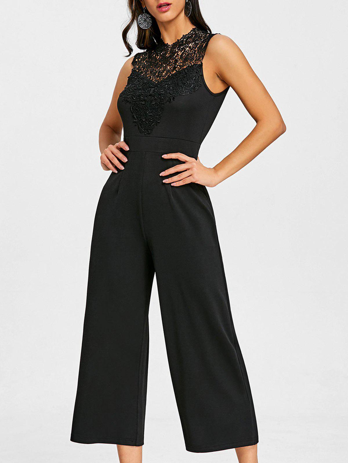 Lace Insert Sleeveless Culotte Jumpsuit - BLACK 2XL