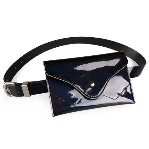 Funny Bag Decorated Artificial Patent Leather Skinny Belt - BLACK