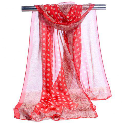Vintage Polka Dot Pattern Lightweight Silky Scarf - RED