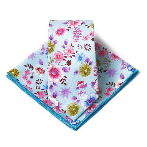 Ensemble de mouchoir cravate motif floral Vintage - Bleu
